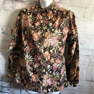 Nordstrom Fall Floral Top Button up Blouse sz. XL